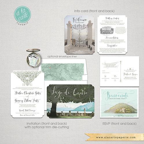 Lake Como Bellagio Italy Illustrated Italian Destination Wedding Invitation Set