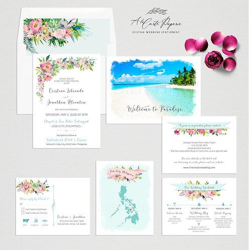 Philippines Cebu Watercolor Illustrated Destination Wedding Invitation set