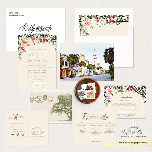Charleston SC USA Watercolor Illustrated Destination wedding invitation Set