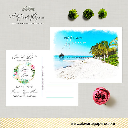 Destination wedding Riviera Maya Mexico Save the Date Postcard