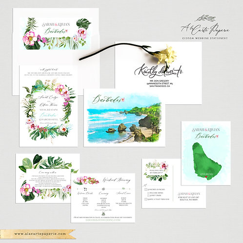 Barbados Watercolor Illustrated Destination Wedding Invitation Set