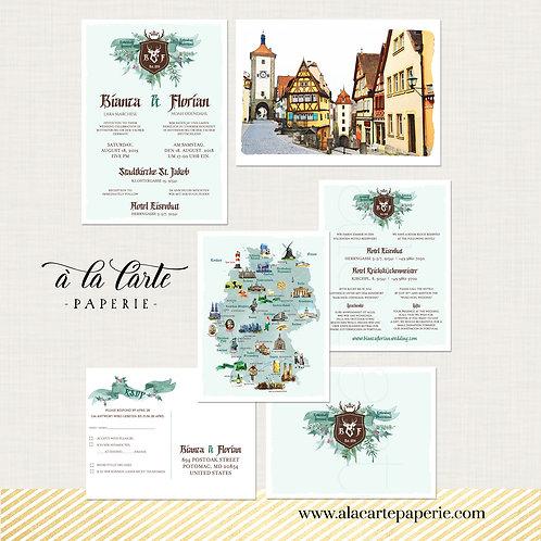 Germany Bilingual Destination wedding invitation Rothenburgh Neuschwanstein