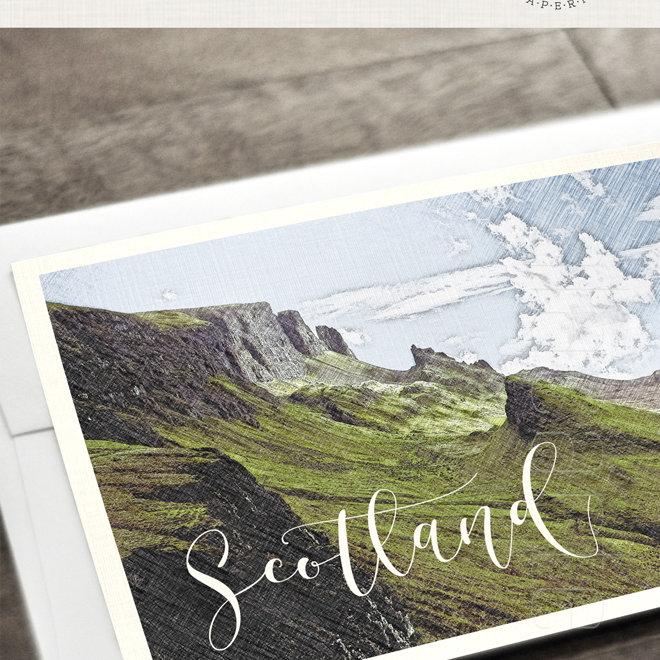 Wedding Invites Scotland: Scotland UK Destination Wedding Invitation Green Scottish