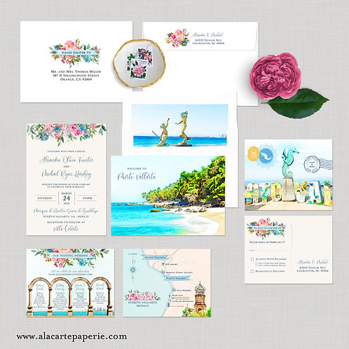 Mexico Puerto Vallarta Watercolor illustrated Destination Wedding Invitation Set