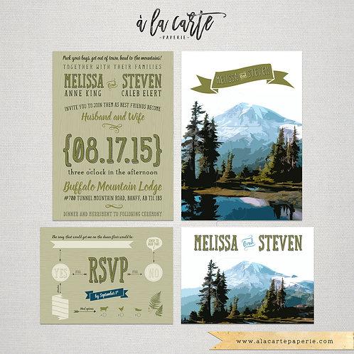 Rustic Mountain Wedding Invitation RSVP illustrated wedding invitation rustic Co