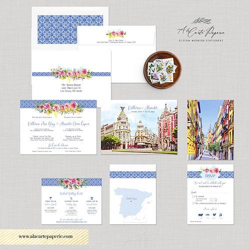 Madrid Spain Watercolor Illustrated Destination Wedding Invitation Set