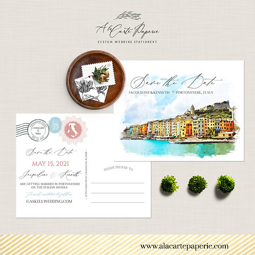 Portovenere Cinque Terre Italy Illustrated Destination wedding Save the Date