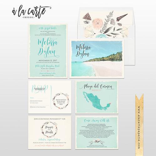 Mexico Beach Destination Wedding Invitation Playa del Carmen Floral Illustration