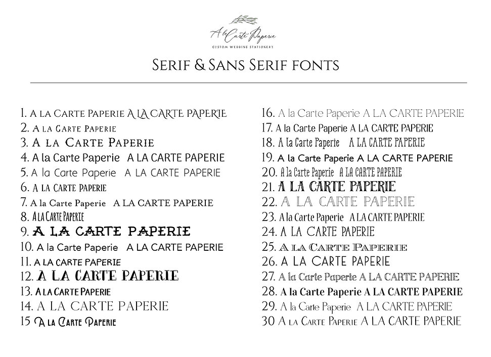 alacartepaperie_Serif and Sans Serif fon