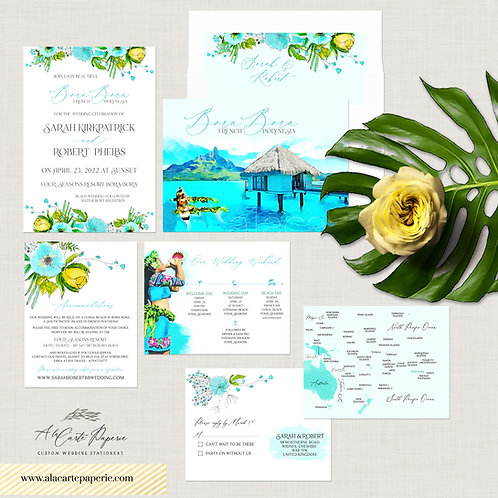 Bora Bora Tahiti pacific Islands Tropical Destination Wedding Invitation Set