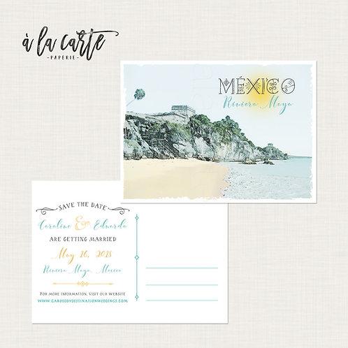 Mexico Riviera Maya Tulum Illustrated Destination Wedding Save the date postcard