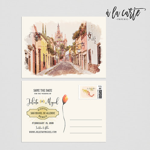 Mexico San Miguel de Allende save the date postcard Mexican Destination
