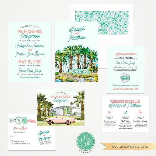 Palm Springs California USA Retro Desert Wedding Invitation Set