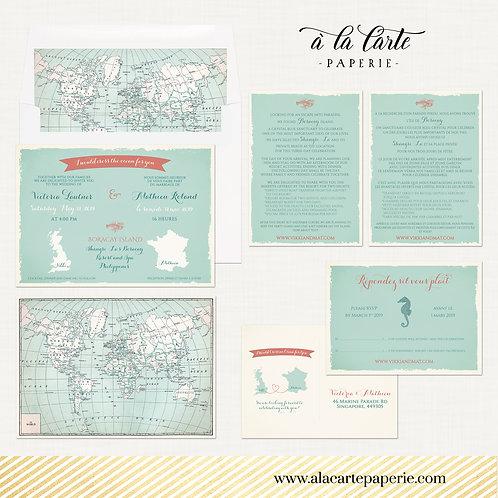 Bilingual Destination International wedding invitation set World map USA France
