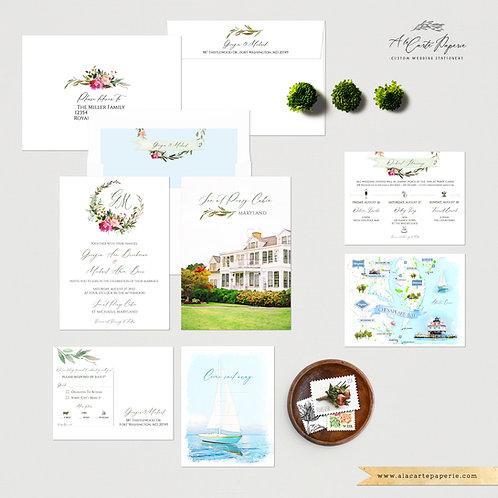 Chesapeake Bay Maryland watercolor Illustrated Destination wedding Invitations