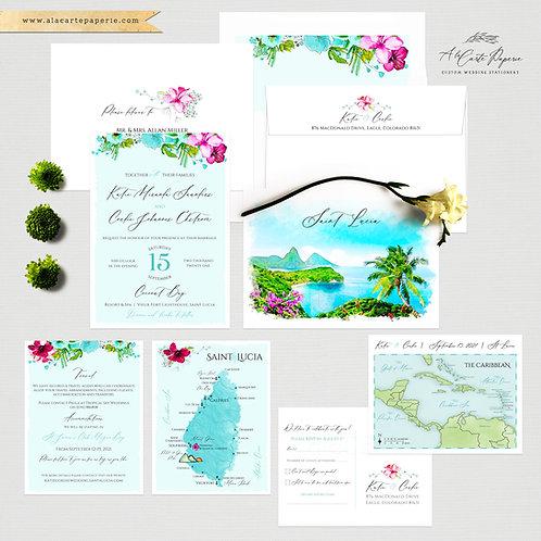 Saint Lucia Beach Destination illustrated wedding invitation St Lucia Wedding