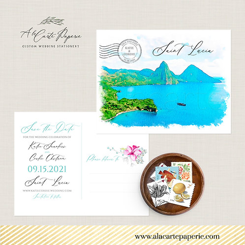 Saint Lucia Caribbean Island Beach Destination Wedding Save the Date postcard