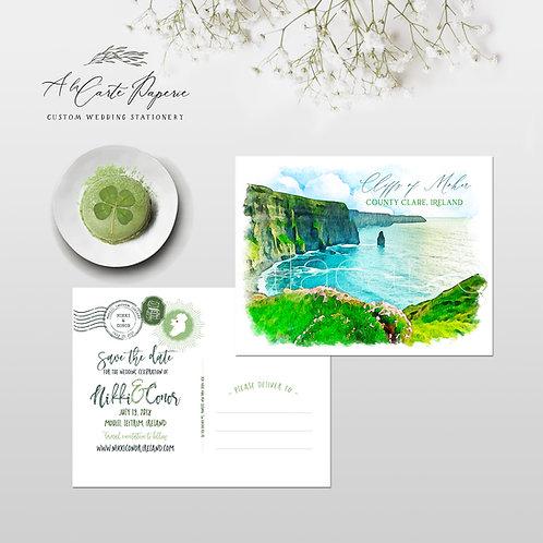Ireland Destination Wedding Save the Date postcard Cliffs of Moher Irish wedding