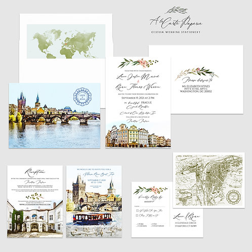Prague Czech Republic Eastern Europe Destination wedding invitation Illustrated