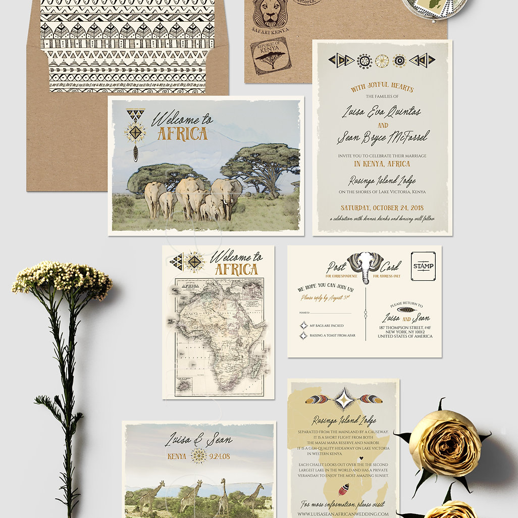 African Safari Destination Wedding Invitation Suite Kenya Rustic Zoo ...
