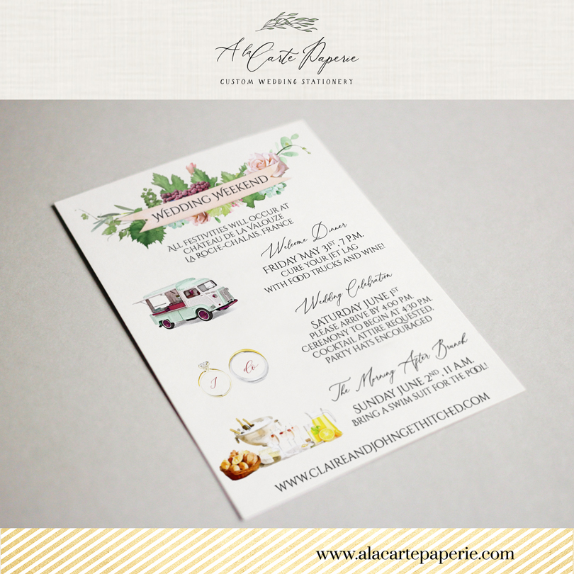 Bordeaux Custom Wedding Invitation