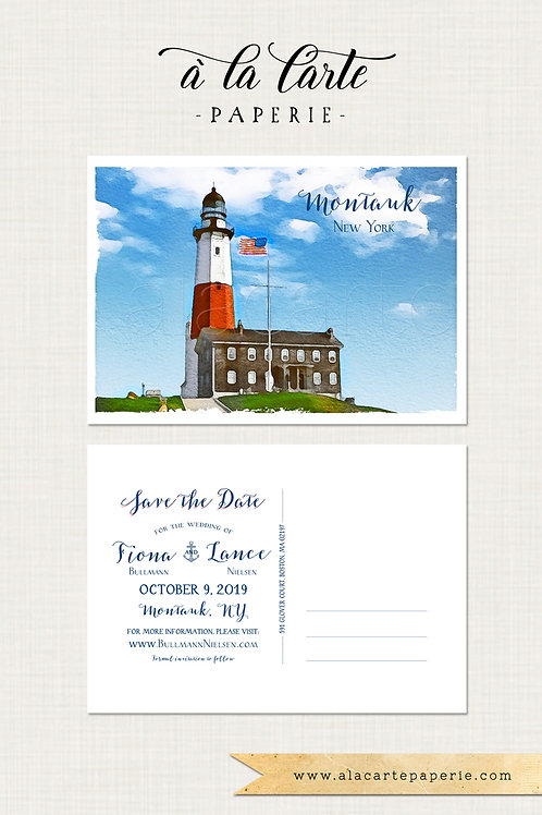 Montauk New York illustrated Save the Date postcard lighthouse lighthouse