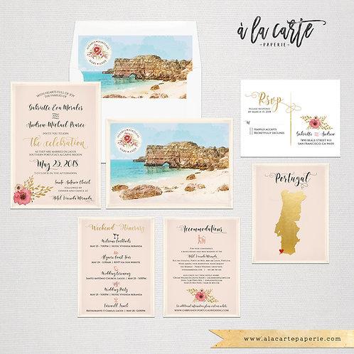 Portugal Algarve Destination Wedding Invitation Coast Beach Blush gold illustrat