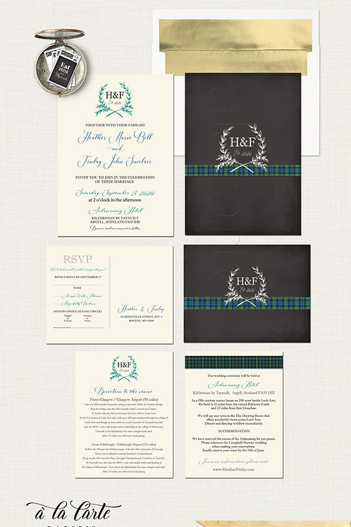 Scotland Tartan Chalkboard Wedding Invitation Scottish wedding