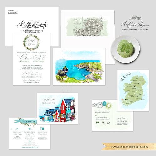 Ireland Dingle Co. Kerry Irish WatercolorDestination Wedding Invitation Set