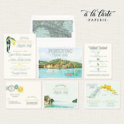Portofino Italy Riviera Destination Wedding Invitation Liguria Europe watercolor