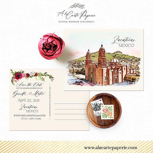 Zacatecas Mexico Destination Watercolor Illustrated Save the Date postcard Weddi