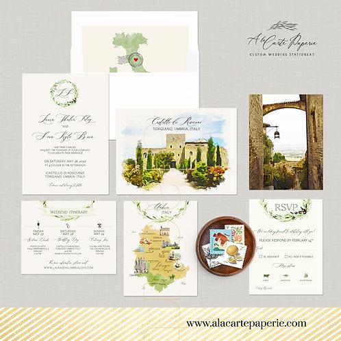 Umbria Italy Castello di RoscianoWatercolor Illustrated Wedding Invitation Set