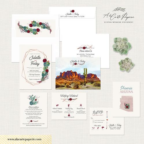 Phoenix Arizona USA Destination wedding invitation set Desert Wedding