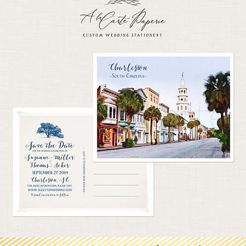 Charleston S Carolina Destination wedding Watercolor illustrated Save the date