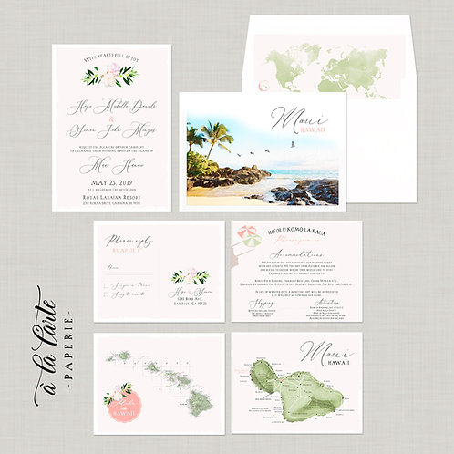 Destination wedding invitation Hawaii Maui invitation watercolor illustrations