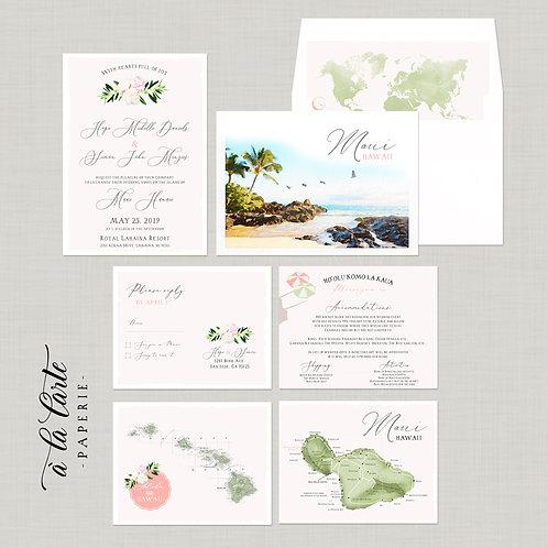 Destination wedding invitation Hawaii Maui invitation watercolor illustrations