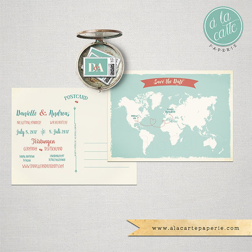Destination wedding Bilingual Save the Date Card World Map Card two languages