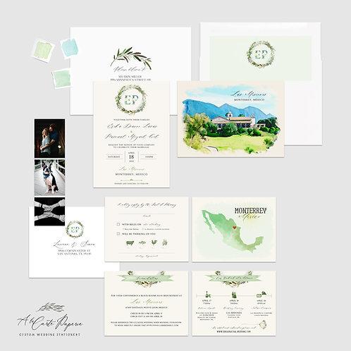 Monterrey Mexico watercolor illustrated destination wedding invitation set