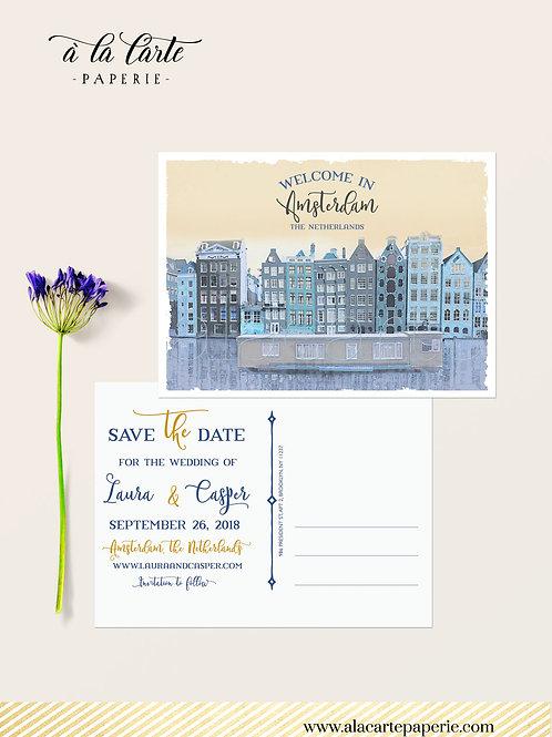 Amsterdam Netherlands European Destination Illustrated Save the date postcard