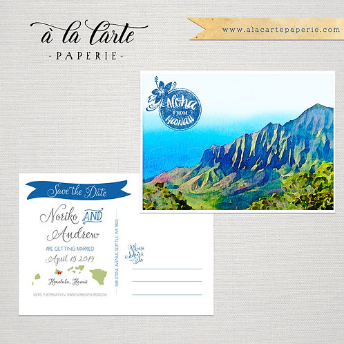 Aloha form Hawaii Illustrated Watercolor Destination Save the Date postcard