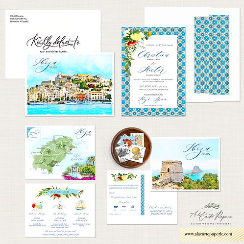 Ibiza Spain watercolor illustrated destination wedding invitation set