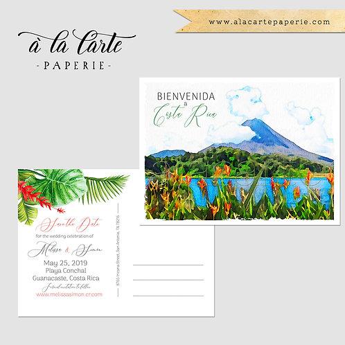 Costa Rica Destination Wedding Invitation Set Tropical Save the Date postcard