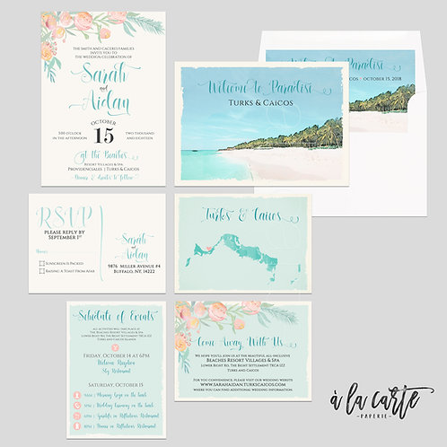 Turks and Caicos Caribbean Beach Destination wedding invitation watercolor ink s