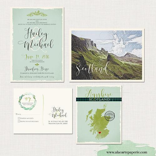 Scotland UK Destination Wedding Invitation green Scottish Invitation tartan