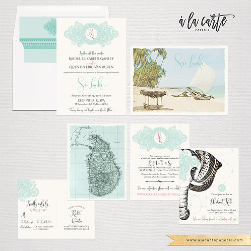 Sri Lanka India Destination wedding invitation in Blue and Sea foam Green colors
