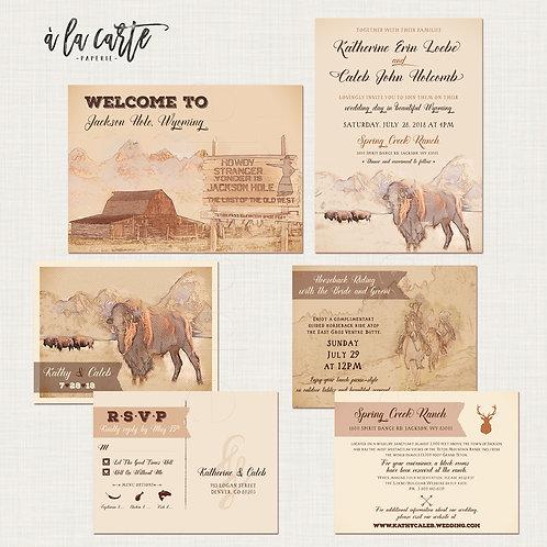 Rustic Wyoming Wedding Invitation Suite - Jackson Hole Rustic wedding Invitation