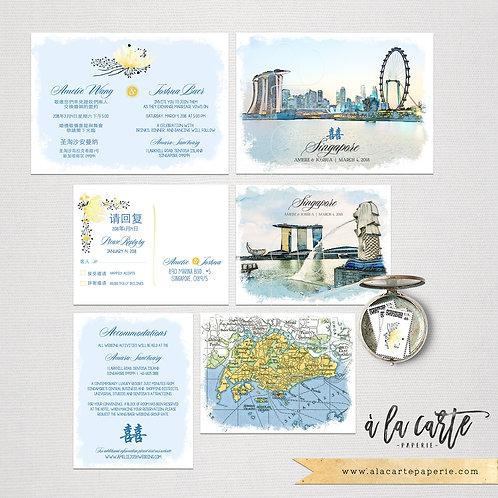Singapore Asia Chinese Wedding bilingual illustrated Destination wedding invitat