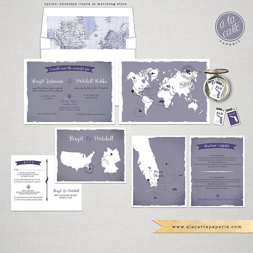 Bilingual world map destination international couple wedding Invitation Lavender