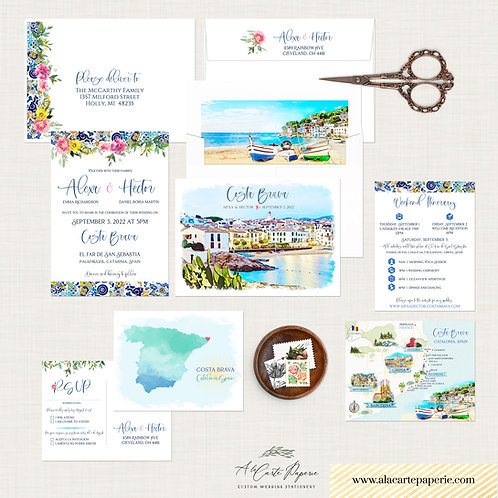 Costa Brava Spain Catalonia Watercolor Destination Wedding Invitation Set