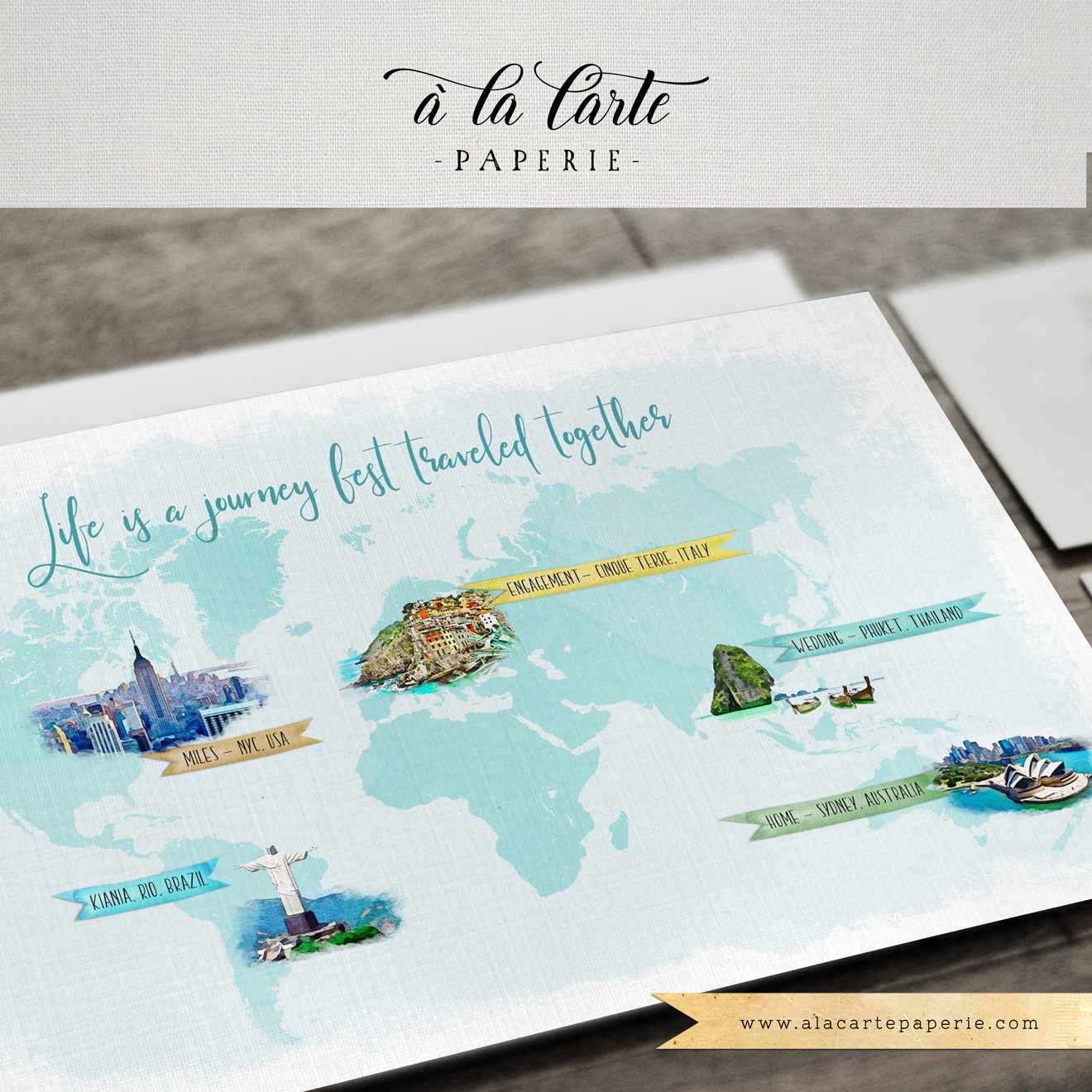 Custom Illustrated World Traveller W